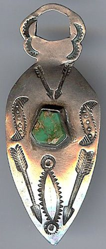 VINTAGE NAVAJO INDIAN STAMPED STERLING SILVER & TURQUOISE FOB