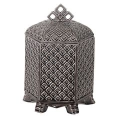 Privilege Decorative Ceramic Container with Lid - Grey