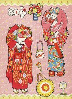Miss Missy Paper Dolls: Japanese kimono paper dolls