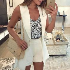 Stylish Solid Notched Collar Button Sleeveless Blazer Roupas Tumblr 0f31e73caf7