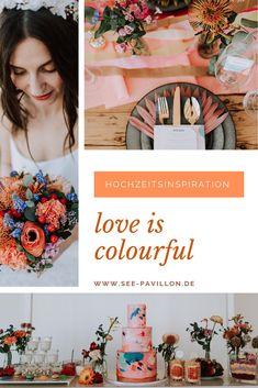 """Love is colourful"" Hochzeitsinspiration Vintage Wedding Theme, Wedding Themes, Wedding Ideas, Fühlinger See, Bunt, Romantic, Pretty, Color, Pink"