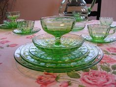 Block Optic Depression Glass - 7 Piece Place Setting