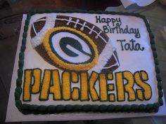 Cake made for a 63 yr old packers fan. All buttercream Fancy Cakes, Cute Cakes, Packers Cake, Dad Cake, Sport Cakes, Cake Decorating Tips, Green Bay Packers, Cupcake Cakes, Birthday Ideas