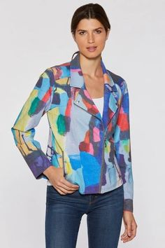 You Know I Know Stretch Moto Jacket – Claire Desjardins Art. #clairedesjardins #clairedesjardinsart #ClaireDesjardinsApparel #DesignerJacket #JeanJacket #cami #WomensApparel #WearableArt #designerclothing #apparel #designerapparel #artandfashion #fashionandclothing #artonclothing #abstractart #abstractpainting #designerclothes #womensapparel #Tunic #Dress  #Jacket #MotoJacket