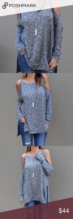 """⬇️ Last One ⬇️ Jameson Cold Shoulder Top - Grey This one flew out of the store! So cozy and easy peasy to wear but with a bit of an edge. Featuring super soft luxe fabric, a flattering scoop-neck, cold shoulder cutouts, side slits to a high-low hemline and relaxed fit.    Bundle up for a 10% Discount!   Model is 5'5"""", 34c, size 2 wearing a small.  50% Rayon, 46% Poly, 4% Spandex; Imported Approx: 27""""L shoulder to front hem. Back is 2"""" longer. 26""""L sleeves measured size small. Tops"""