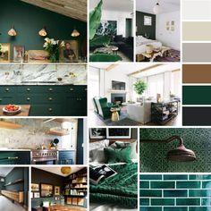 These interior spaces all share one thing in common. That is why they work so well. They use forest green as a neutral, layered with other neutrals. It creates a very comfortable and organic space….and I must admit — I am kind of digging it! Below is a color palette that works for me.