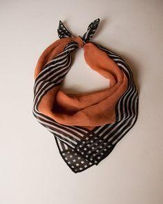 Vintage Salmon Black and White sheer silk by lastprizevintage
