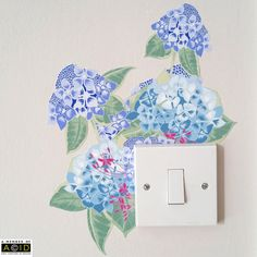 Floral Wall Sticker For Light Switch, Hydrangea Wall Sticker, Removable Wall Stickers, Fabric Stickers, Nursery Wall Sticker *This contemporary floral wall sticker is perfect for adding a splash of colour and fun to your home, transforming light switches and plug sockets! This hydrangea wall sticker will fit on the corner of a standard plug socket/light switch. (see photos for single and double plug sockets)