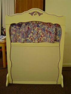 Pieces by Polly: Puppet Theater/Flannel Board from a Bookshelf Toddler Fun, Toddler Activities, Preschool Classroom Centers, Art For Kids, Crafts For Kids, Classroom Furniture, Homemade Toys, Recycled Crafts, Diy Toys