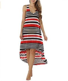 fae2f1cd352d Sexy Womens Colorful Horizontal Stripes Sleeveless High Low Boho Dress  Coverup *** You can