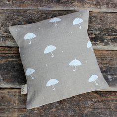 Natural Linen Cushion Cover Raindrop Pillow by DorisMcCrafterson