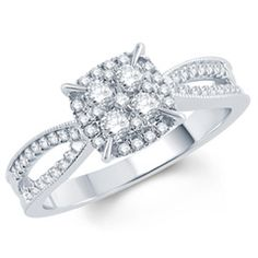1/2 CT. T.W. Composite Diamond Square Frame Vintage-Style Engagement Ring in 10K White Gold