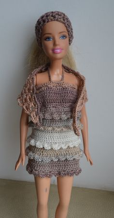 Inspiration - No pattern...Summer Set for a Fashion Doll - Dress, Shawl, Headband - Crochet Handmade