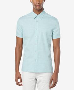 0aa75aed4 Perry Ellis Men's Yarn-Dye Stripe Short-Sleeve Shirt & Reviews - Casual  Button-Down Shirts - Men - Macy's