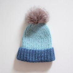 e2e98d38f65 Chunky wool knit hat Ribbed hat Fur pom hat Blue hat Fur bobble hat Fur pom  hat