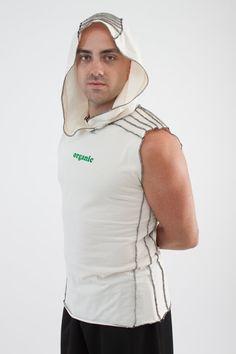 Mens sleeveless hoodie t-shirt elf festival débardeur capuche coton bio personnalisé, gravure homme chemise playa