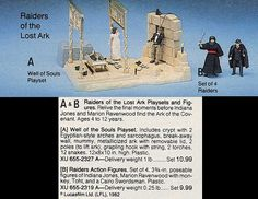 """A 1982 JC Penney Christmas catalog scan featuring action figures for """"Raiders of the Lost Ark"""" and the Well of Souls playset"""