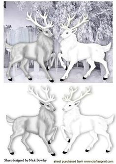 BEAUTIFUL WHITE GREY STAGS IN ICICLE GLAZIER on Craftsuprint - Add To Basket!