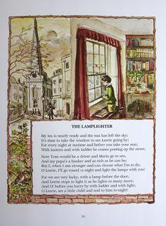 The Lamplighter By Robert Louis Stevenson One of my very favorite poems. Nursery Rhymes Poems, Rhymes Songs, Illustrations, Children's Book Illustration, Nursery Rymes, Science Fiction, Kids Poems, Nostalgia, Mystery