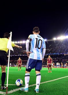 """Lionel Messi during a match between Argentina and Venezuela as part of FIFA 2018 World Cup Qualifiers at Monumental Stadium on September 2017 in Buenos Aires, Argentina. Messi Argentina, Argentina Football Team, Messi And Neymar, Messi 10, God Of Football, Football Soccer, Fc Barcelona, Argentina National Team, Soccer World"