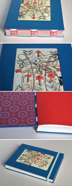 Cuaderno botánico turquesa encuadernación con costura expuesta con cinta