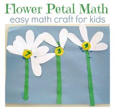 Great flower math activity to help preschool-aged children begin to learn numbers and counting with a spring flower theme. Math Activities For Kids, Spring Activities, Math For Kids, Math Games, Math Crafts, Preschool Crafts, Math Projects, Kids Crafts, Early Math
