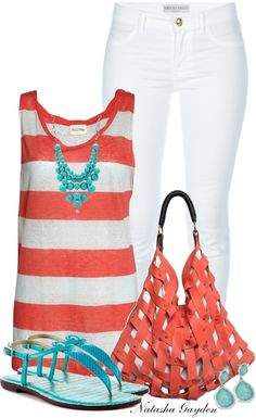 """""""Turquoise and Coral"""" by natasha-gayden ❤ liked on Polyvore"""