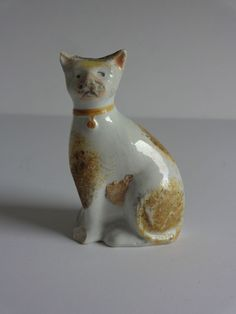 Antique Staffordshire Pottery Seated Cat Figurine c1860