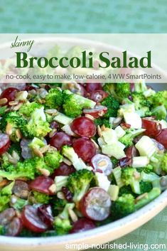 Skinny Broccoli Salad This light and crunchy broccoli salad with creamy dressing, grapes, celery and raisins is my new favorite way to enjoy broccoli – just 149 calories, 4 Weight Watchers Freestyle SmartPoints! Crunchy Broccoli Salad, Skinny Broccoli Salad, Brocolli Salad, Broccoli Raisin Salad, Broccoli Cauliflower, Healthy Salads, Easy Healthy Recipes, Clean Eating Snacks, Healthy Recipes