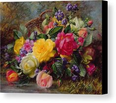 Rose; Flower; Reflection; Flowers; Pink; Yellow; White; Roses; Basket; Water; Grass; Grassy; Grassy Bank; Pond Canvas Print featuring the painting Roses By A Pond On A Grassy Bank by Albert Williams