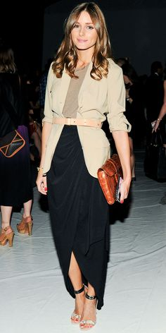 Olivia Palermo in a cuffed blazer, a brown clutch, tulip hem maxiskirt and ankle-strap sandals.