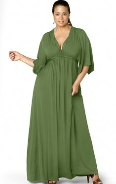 Plus Size Maxi Dresses With Sleeves Green Plus Size Summer Dresses, Trendy Dresses, Plus Size Outfits, Casual Dresses, Dresses Dresses, Plus Size Dresses To Wear To A Wedding, Flowing Dresses, Sleeve Dresses, Linen Dresses
