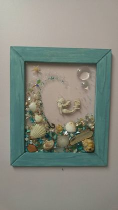 Custom made glass art frame with with vertical tourquise wood frame Custom made sea glass art frame with Mermaid with wave Sea Glass Crafts, Sea Glass Art, Stained Glass Art, Resin Crafts, Diy Crafts, Seashell Art, Seashell Crafts, Button Art, Button Crafts
