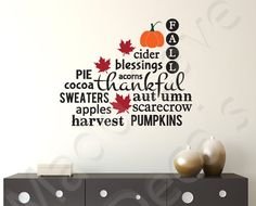 Fall Autumn Harvest Subway Art Pumpkins Seasons by MaddCaveDecals