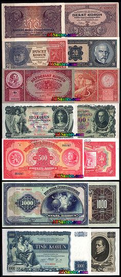 Czechoslovakia banknotes - Czechoslovakia paper money catalog and Czechoslovakian currency history