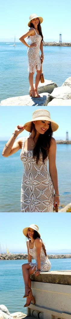 CROCHET FASHION TRENDS exclusive crochet white summer dress - made to order