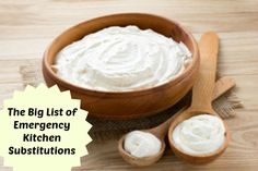 HUGE list of substitution for common kitchen ingredients you may not have on hand. #frugal