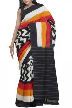 Black Red Multi Colored Cotton Ikat Saree