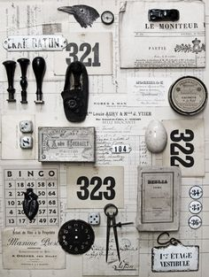 Moodboard With Vintage And Antique Elements. Things Organized Neatly, Vintage Love, Vintage Graphic, Shabby Vintage, Vintage Paper, Vintage Decor, Vintage Black, Branding, Graphic Design Inspiration