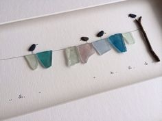 Sharon Nowlan original art with pebbles and sea glass por PebbleArt
