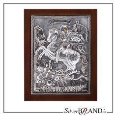 Exact copy of byzantine silver icon depicting Saint Dimitrios. Byzantine, Handmade Silver, Saints, Workshop, Greek, Traditional, Icons, Color, Atelier