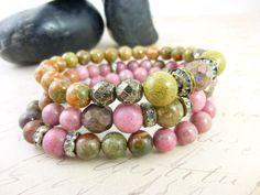 Pink Rhodonite Gemstone Bracelets, cleansed and energy activated by EarthEnergyGemstones, $65.00