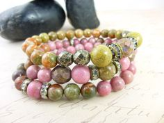 Rhodonite Gemstone Bracelets, Pink Stacking Bracelet Set, Boho Bracelets, Chakra Energy Jewelry