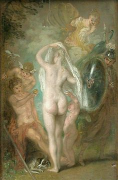 Jean-Antoine WATTEAU (Valenciennes, 1684 - Nogent-sur-Marne, 1721)  The judgement of Paris /Le jugement de Pâris ca.1718 - 1721  In front of Mercury, Paris tends to Venus the golden apple, the prize of her triumphant beauty. Her rivals, Minerva equipped with a shield, and Juno with her peacock withdraw. The sensuality of the pearly nude is inspired by Rubens, one of the Watteau's favorite painters.