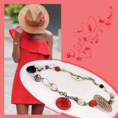 #Collana Lunga Pietre Rosa Arancio Nera Perle di Fiume Rosone Macrame' Rosa e Ciondolo Ciambella Finale