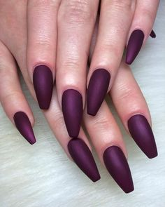 Plum / Deep Berry / Wine colored Matte Long Coffin Nails. Both color and length…