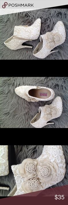 Never worn lace booties! I love these shoes but the heel is a bit high for me.  Gorgeous in person and great to wear with jeans or a dress!  Never worn!!! Mojo Moxy Shoes Heels