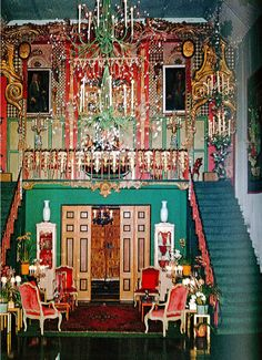 The staircase and balcony at the studio ballroom, designed by Duquette using eighteenth century Venetian architectural fragments.