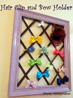 Hair Clip and Bow Organizer/Holder by ShellyHomemakerBlog on Etsy, $30.00