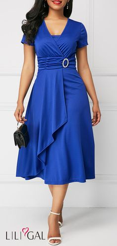 Royal Blue V Neck Ruffle Hem Dress #liligal #dresses #womenswear #womensfashion